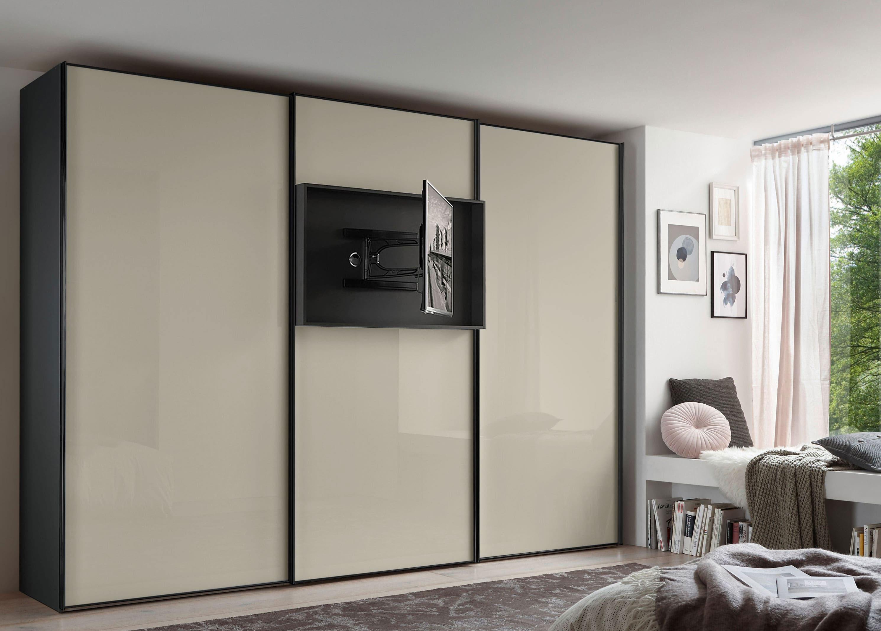 Staud Media Flat Kleiderschrank mit TV Fach Glas