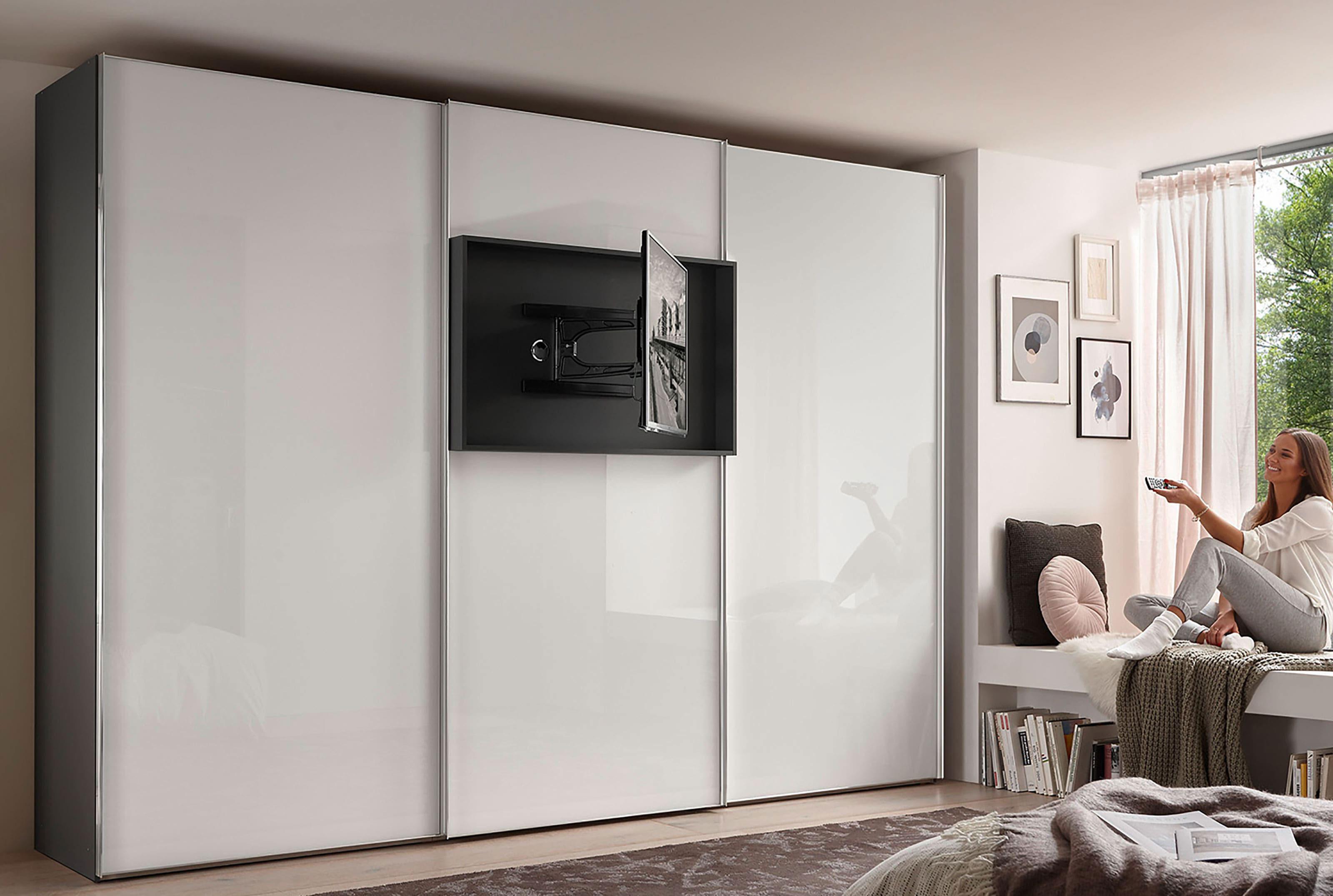 Staud Media Flat Kleiderschrank mit TV Paneel Glas weiß