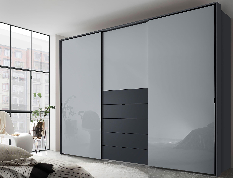 Staud Media Kleiderschrank mit TV Fach Glas weiß