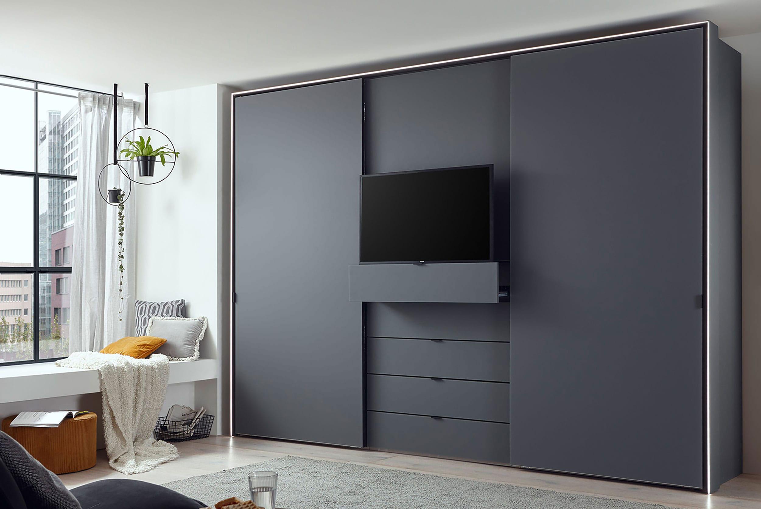 Staud Media Multi Kleiderschrank Mit Tv Fach Mattglas Hohe 222 Cm