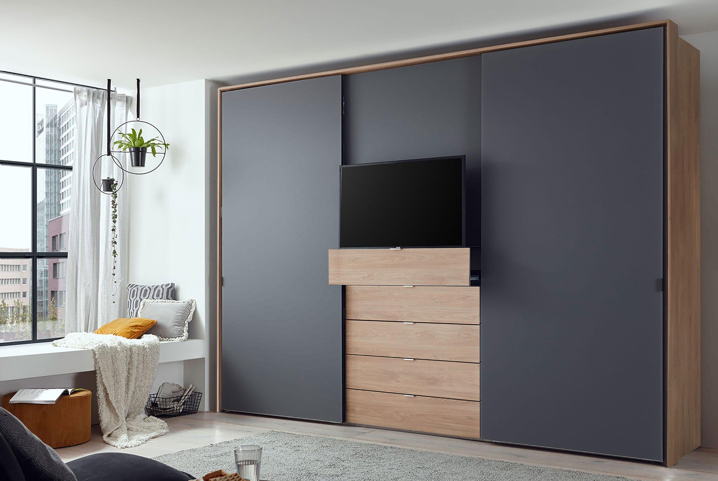 Staud Media Kleiderschrank mit TV Fach Vulkanglas matt und eicghe Dekor