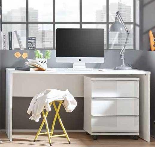 Staud Sinfonie Single Wohnen Schreibtisch mit Rollcontainer weiß