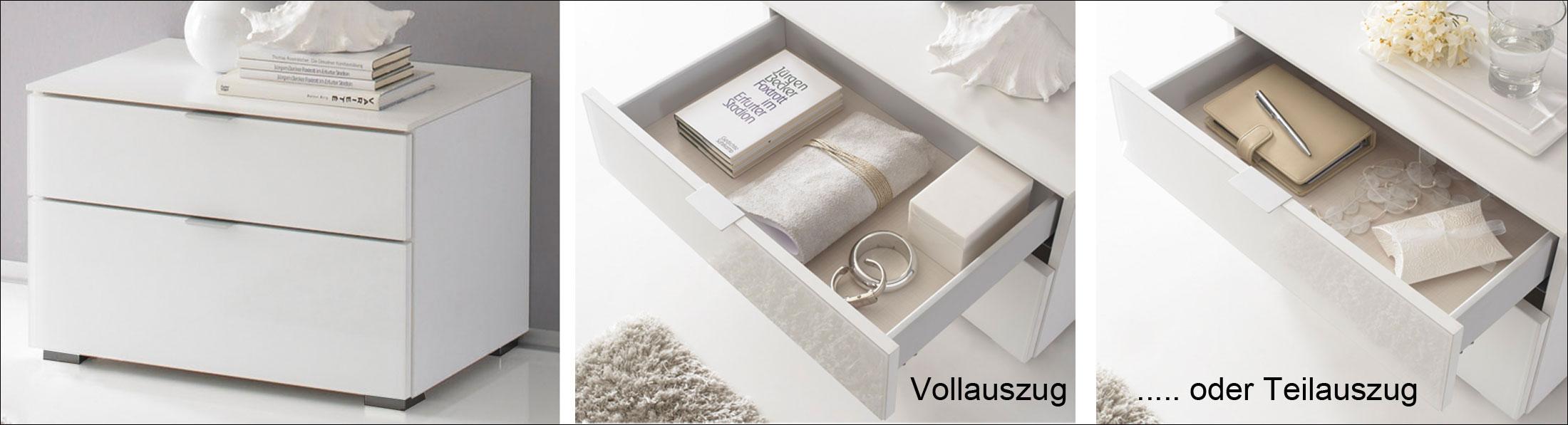Das Bild zeigt einen Nachttisch weiß mit Schubladen Modell Sonate von Staud.
