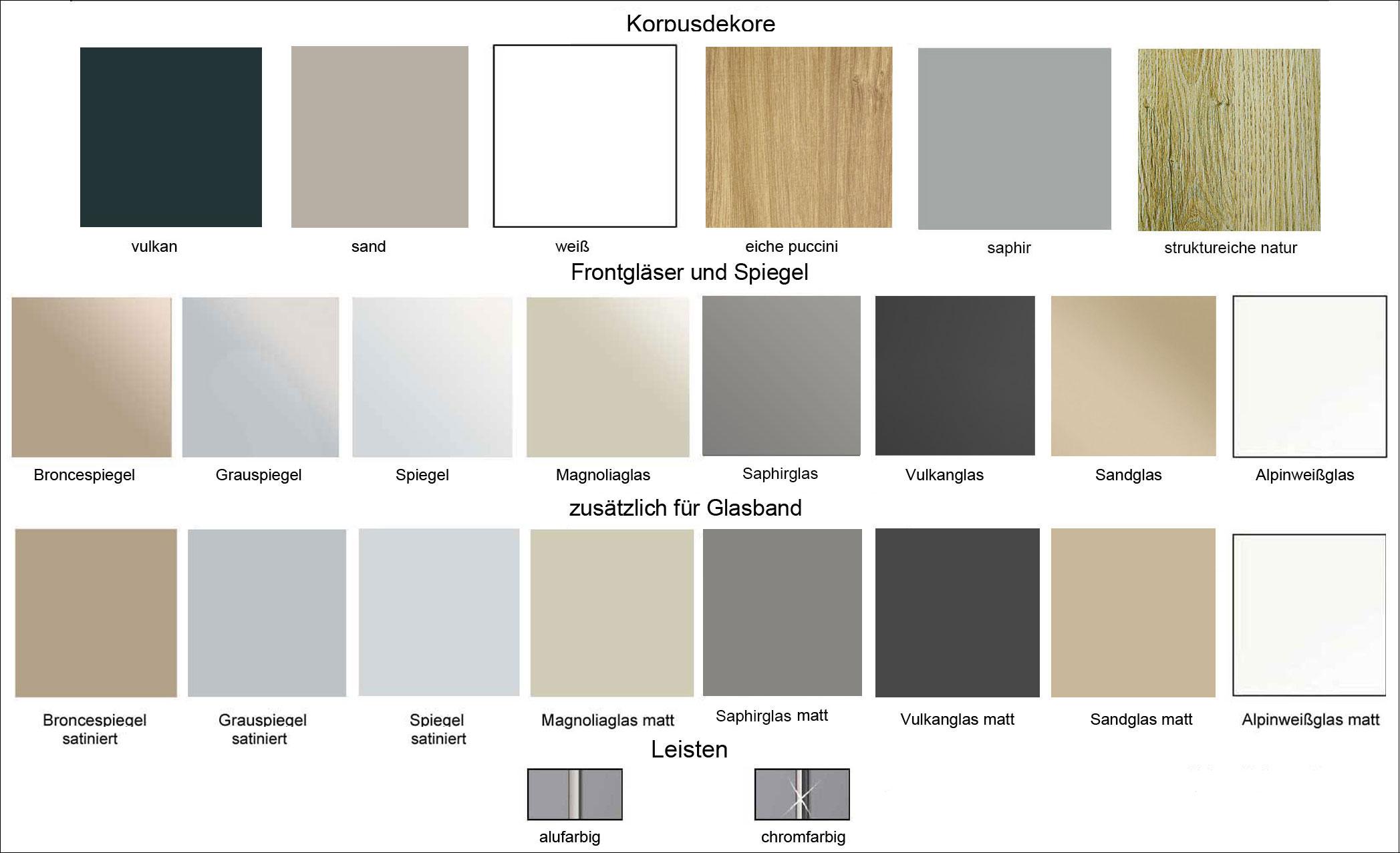 Staud Sonate Cento Schwebetürenschrank Farben
