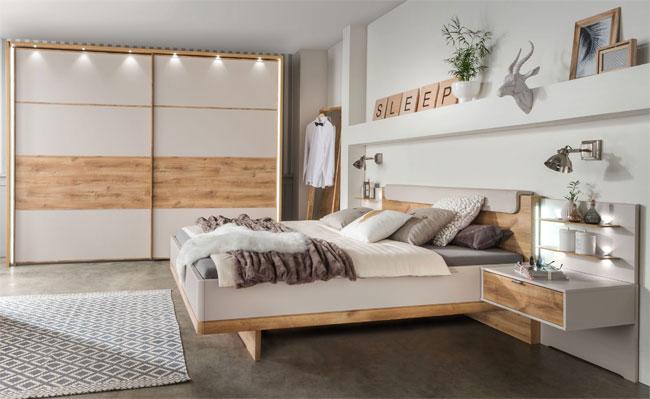 Wiemann Catania Schlafzimmer komplett champagner / balkeneiche